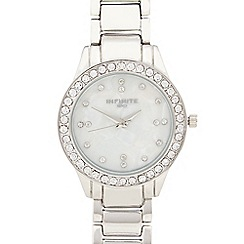 Infinite - Ladies silver diamante case watch