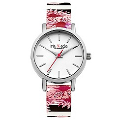Iris & Edie - Ladies white floral striped print watch