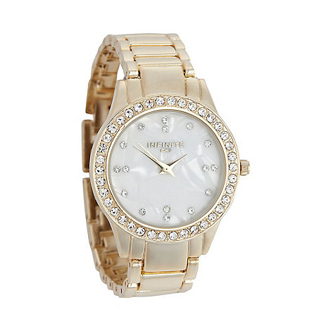 Infinite - Ladies gold diamante case watch