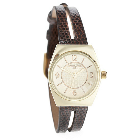 Infinite - Ladies brown mock snakeskin spit strap watch