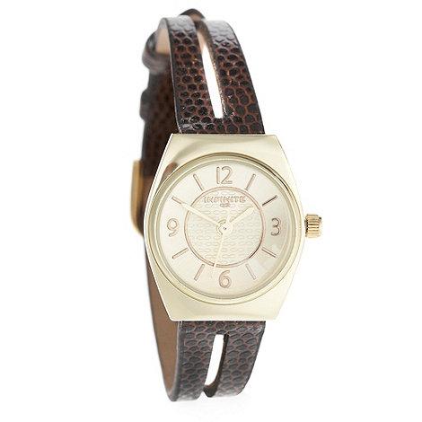Infinite - Ladies brown mock snakeskin spit strap watch