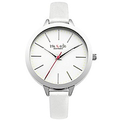 Iris & Edie - Ladies white skinny strap watch