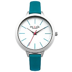 Iris & Edie - Ladies turquoise skinny strap watch