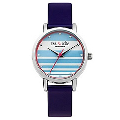 Iris & Edie - Ladies dark blue striped watch