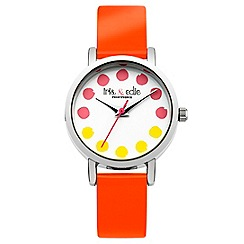 Iris & Edie - Ladies bright orange spotted watch