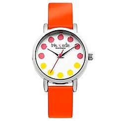 Iris & Edie - Ladies bright orange spotted watch