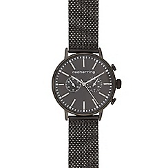 Red Herring - Mens black mesh mock chronograph watch
