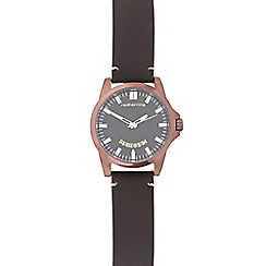 Red Herring - Mens dark brown debossed face watch