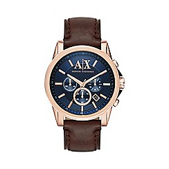 Armani Exchange - Men's rose gold and dark brown leather chronograph bracelet watch