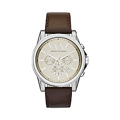 Armani Exchange - Men's silver and dark brown leather chronograph bracelet watch