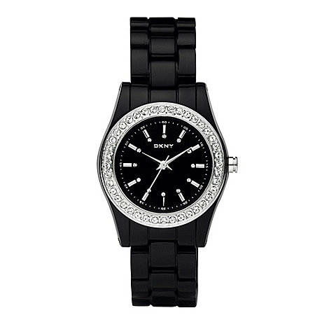 DKNY - Ladies black plastic chronograph watch