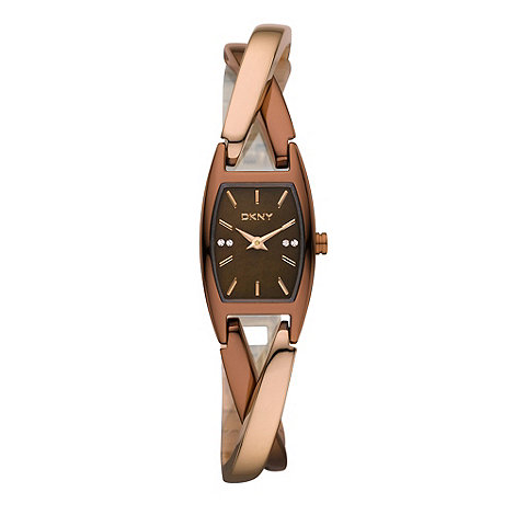 DKNY - Ladies pink cross over bangle watch