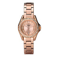 Fossil - Ladies bronze diamante case watch