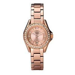 Fossil - Ladies bronze diamante case watch