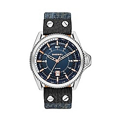 Diesel - Men's silver and denim 3 hand date strap watch