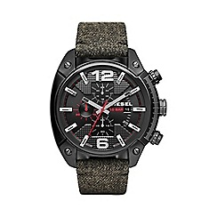 Diesel - Men's 'Overflow' black dial leather strap watch dz4373