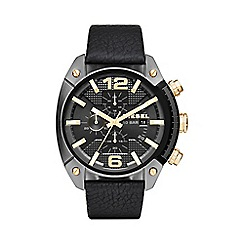 Diesel - Men's 'Overflow' black dial leather strap watch dz4375