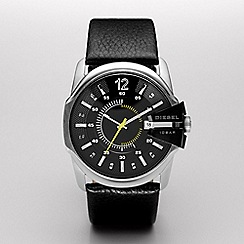 Diesel - Men's 'Master Chief' black dial & leather strap watch