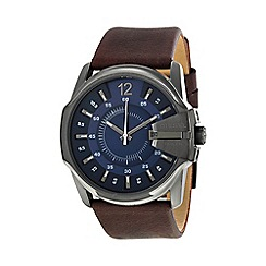Diesel - Men's 'Master Chief' blue dial brown leather strap watch dz1618
