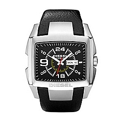 Diesel - Men's black 3 hand date strap watch