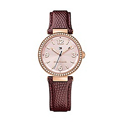 Tommy Hilfiger - Ladies 'Lynn' watch with burgundy leather strap