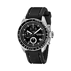 Fossil - Men's black chronograph dial leather strap watch