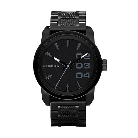 Diesel - Men+s black textured bracelet watch