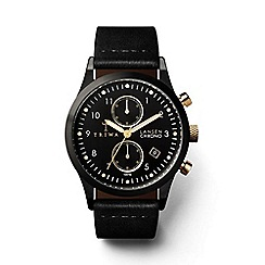 Triwa - Unisex watch with black multi dial and black leather strap