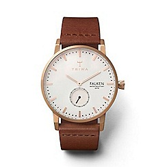 Triwa - Unisex watch with white multi dial with rose gold plating and brown leather strap