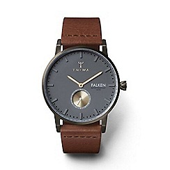 Triwa - Unisex watch with dark grey multi dial with brown leather strap