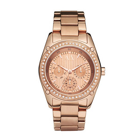 Armani Exchange - Ladies rose diamante case watch