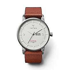 Triwa - Unisex watch with white dial and brown leather strap
