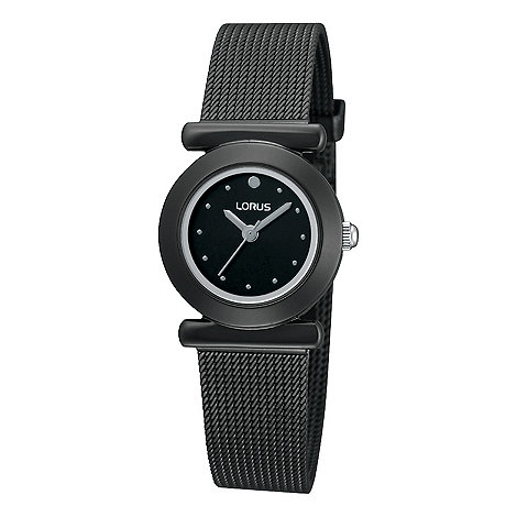 Lorus - Ladies black ion plated mesh bracelet watch