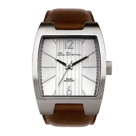 Ben Sherman - Men+s brown leather strap watch