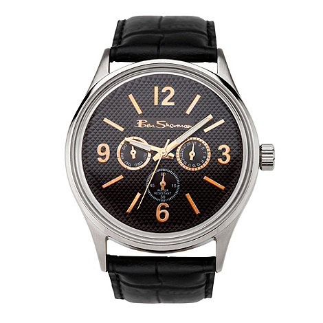 Ben Sherman - Men+s black leather strap bezel watch