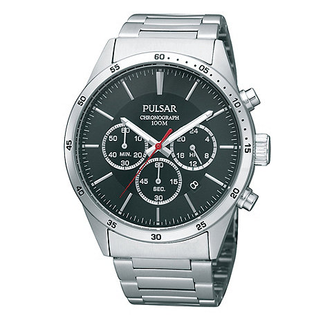 Pulsar - Men+s silver chronograph dial watch