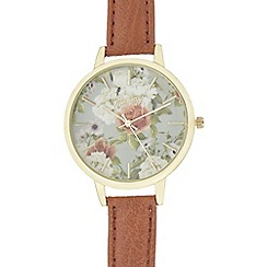 Mantaray - Ladies brown floral face watch