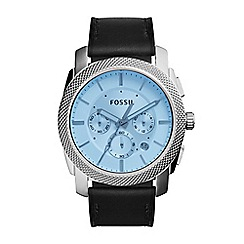 Fossil - Men's machine watch with blue dial and black strap