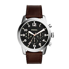 Fossil - Gent's pilot watch with brown leather strap