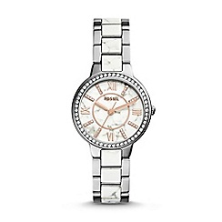 Fossil - Ladies mabrle and silver 'Virginia' watch
