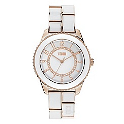 STORM - Ladies white and gold round dial bracelet watch
