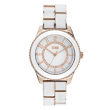 STORM London - Ladies white and gold round dial bracelet watch