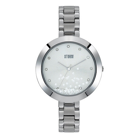 STORM - Ladies silver round dial crystal bracelet watch