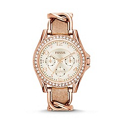 Fossil - Ladies rose gold 'Riley' watch with leather strap