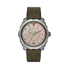Diesel - Men's green multi dial leather and canvas strap watch