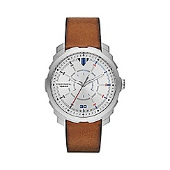 Diesel - Men's 'Machinus NSBB' silver dial brown strap watch dz1736