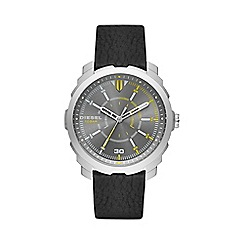 Diesel - Men's black multi dial leather strap watch