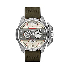 Diesel - Men's green chronograph leather and canvas strap watch