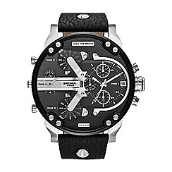 Diesel - Men's black chronograph leather strap watch