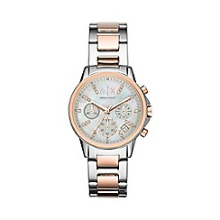 Armani Exchange - Ladies silver and rose gold chronograph watch